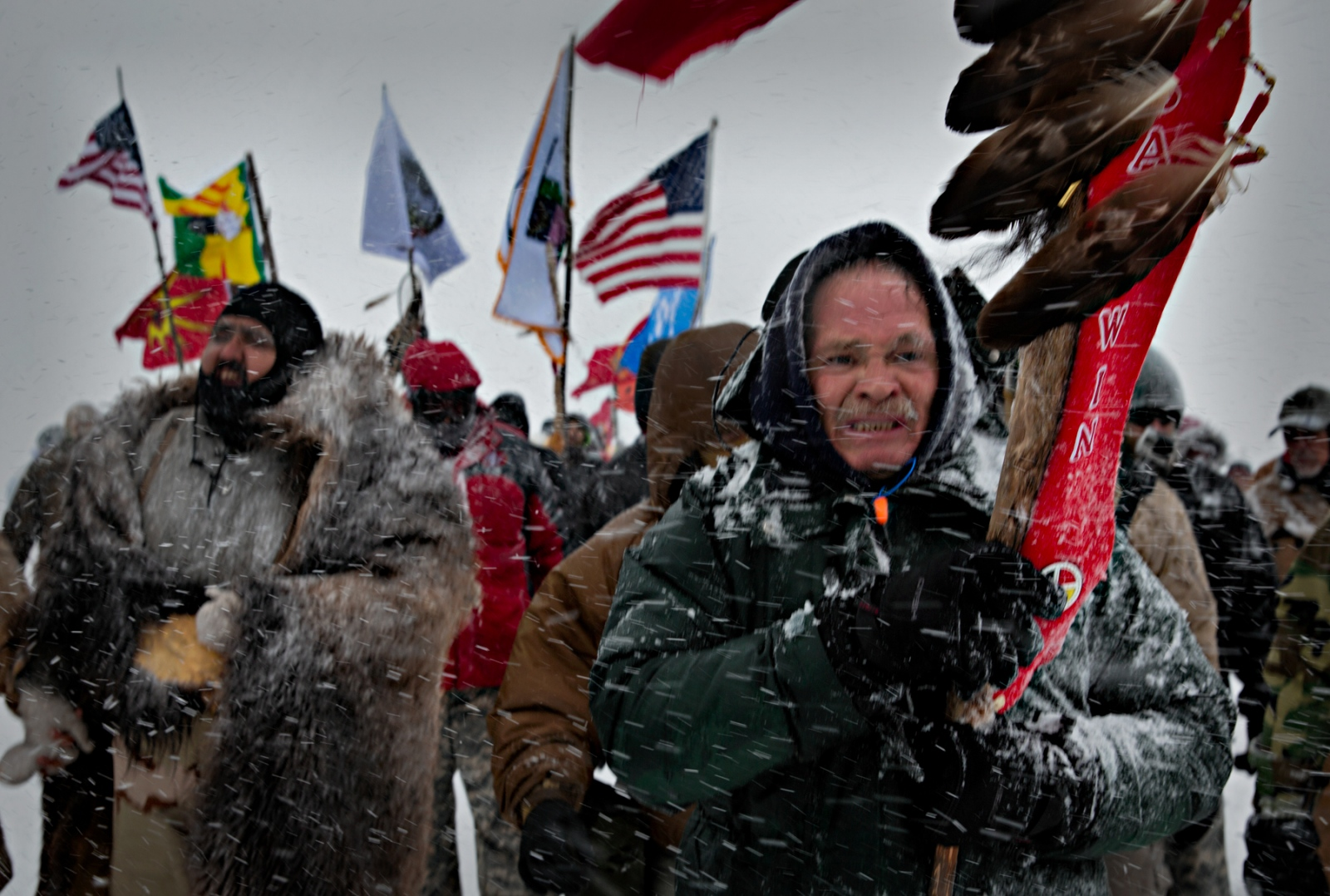 US Military Veterans for Peace joined the Water Protectors at the Oceti Sakowin Camp near the Standing Rock Sioux Reservation during a particulary fierce Decemer blizzard.