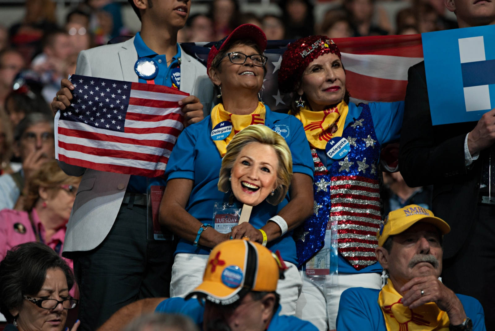 July 26, 2016 - Philadelphia, Pennsylvania - During the Democratic National Convention in Philadelphia, Pennsylvania, a group of Hillary Clinton supporters cheer on the speakers. The mood at the DNC was from jubilant to angry depending on whether a particular group was supporting Clinton or Sanders for presidency.