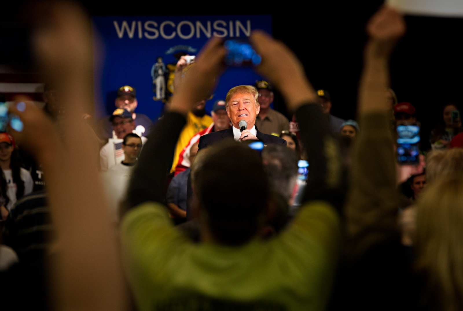 March 30, 2016 - Appleton, Wisconsin - Donald Trump was greeted enthusiastically by his supporters when he appeared in Appleton, Wisconsin at a rally during his presidential run.