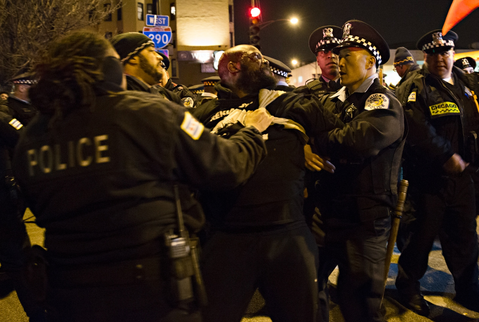 March 11, 2016 - Chicago, Illinois - An anti-Trump protestor is arrested by the Chicago Police Department following unrest resulting from the planned appearance of Donald Trump in Chicago. Due to the intensity of the protests and the UIC students' infiltration of the Pavilion, concerned about his security Trump cancelled his appearance.