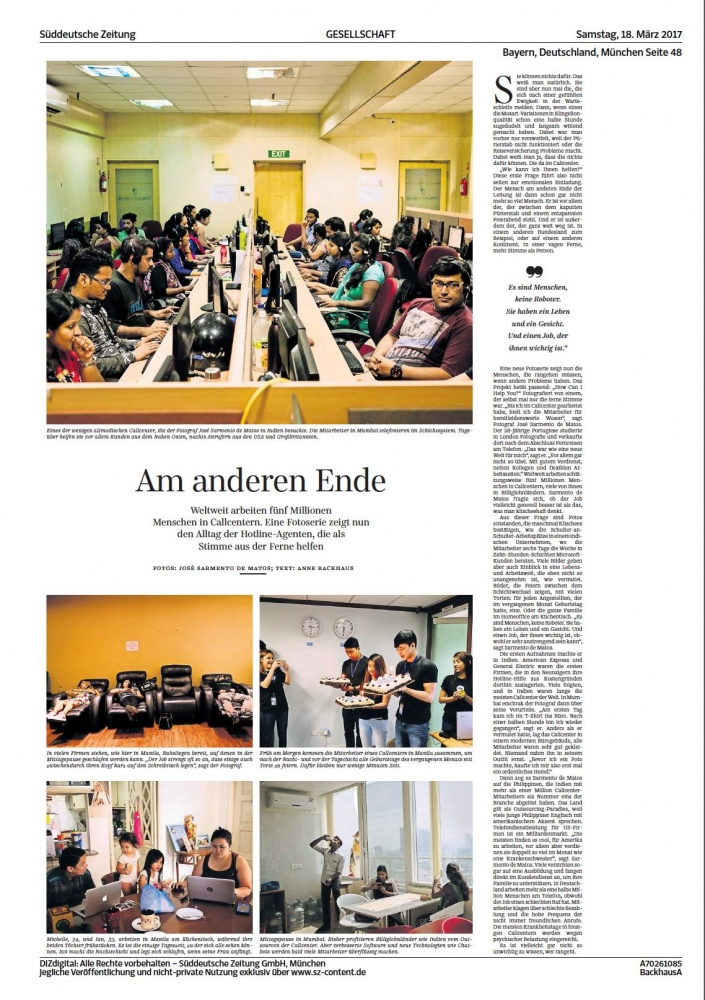 "My project ""How can I help you"" (India and Philippines chapters) was published Saturday in Süddeutsche Zeitung."