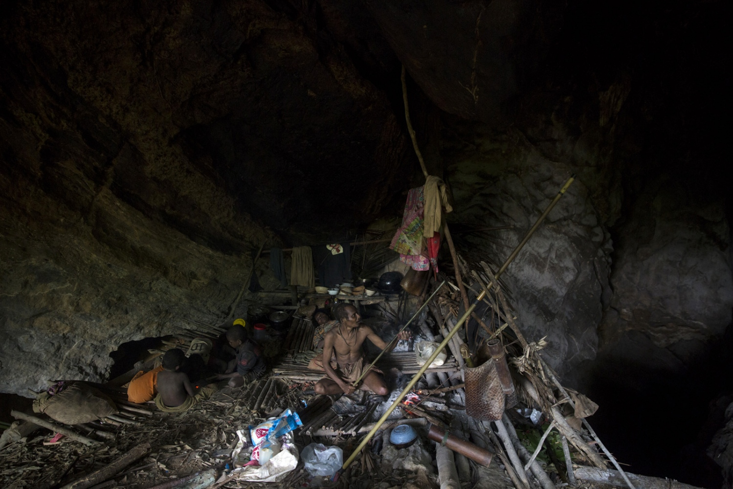 During the rainy season the Maniq search out caves, deep in the forest, where they will stay until the rains stop. Satun - July 2017