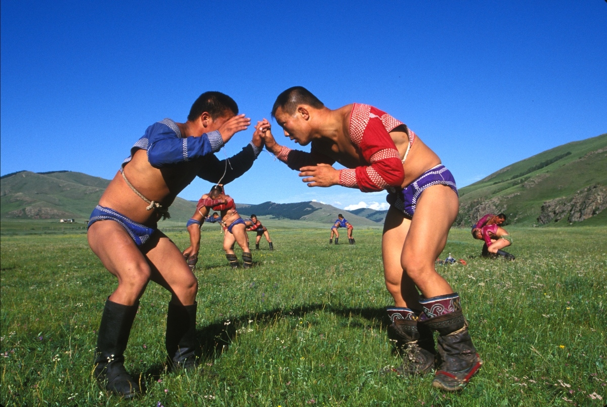 Mongolian Wrestlers. Mongolia. 2002 (Photo by...