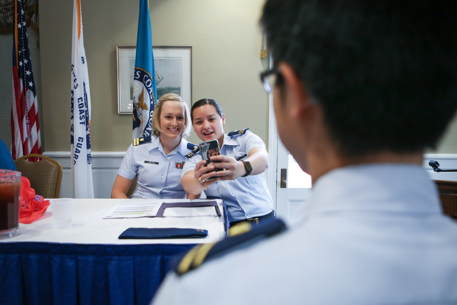 Amanda Roy takes a selfie with Taylor after Taylor's presentation on the SPECTRUM Lunch Panel during Eclipse Week at the Coast Guard Academy in New London, CT on April 6, 2017.