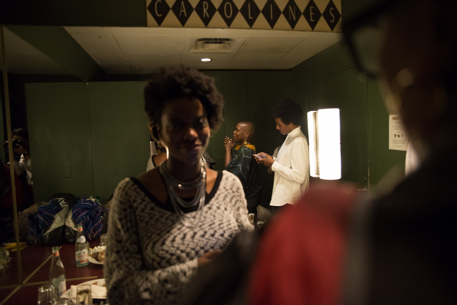 November 2, 2016 - Carolines on Broadway, New York City, United States - Agunda Okeyo with comedians Sasheer Zamata and Zainab Johnson backstage during the Sisters of Comedy Show, part of New York Comedy Festival.