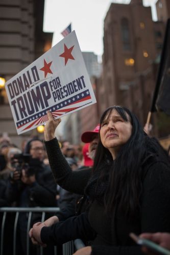 Pro Trump protesters during the fourth day of protests against newly elected President of the United States Donald Trump. New York City, USA-  November 12, 2016.