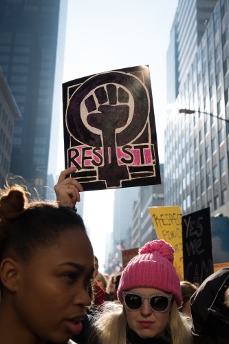 The Women's March Rally where  an estimated 400,000 people joined, according to NYC's Mayor Bill de Blasio's office. New York City, NY, USA - January 21, 2017.