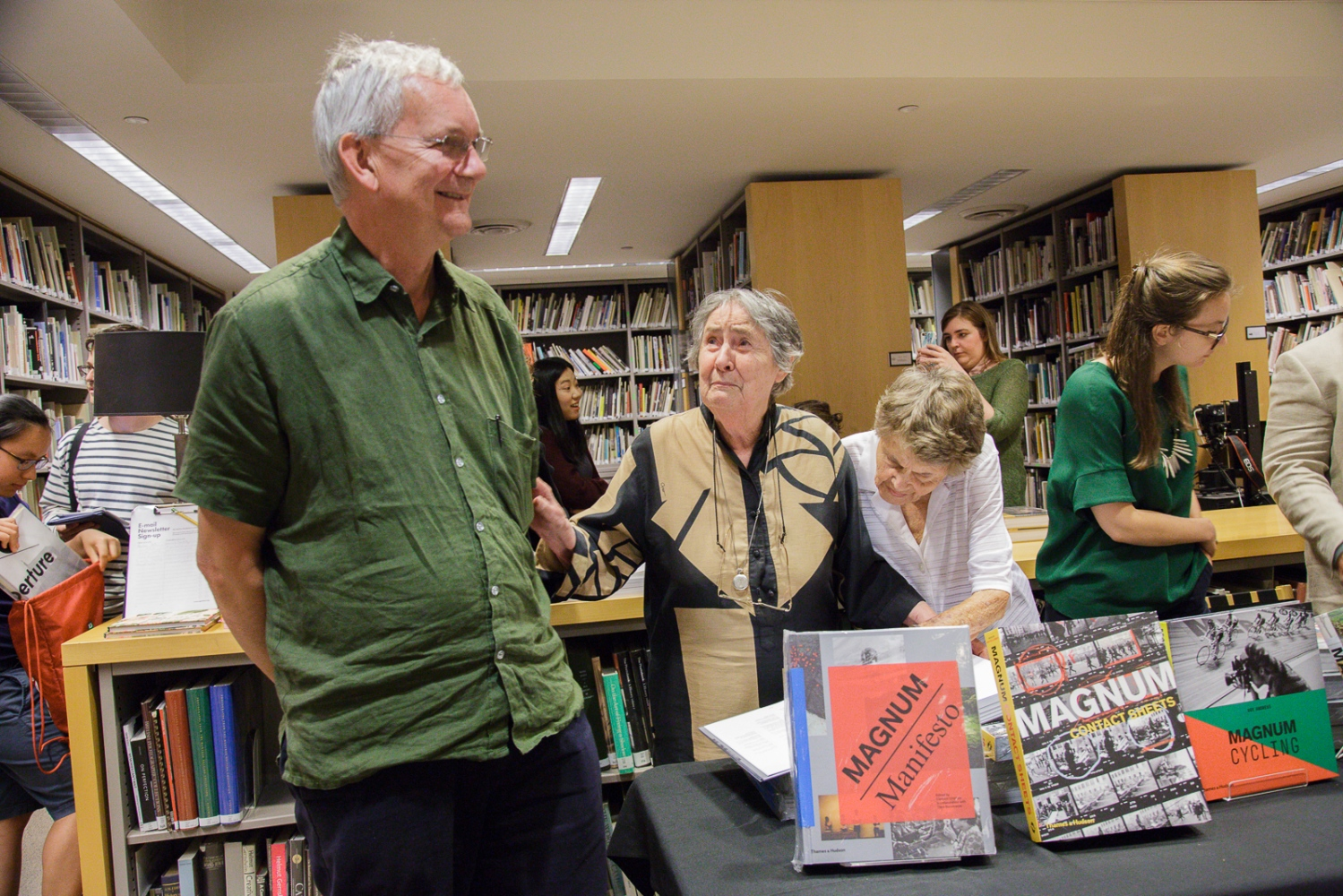 "June 21, 2017 - International Center of Photography School. New York City, NY, USA - Martin Parr (L), Inge Bondi (center) and Jinx Rodger during the book signing event after the panel discussion ""Magnum Photos Now- Photobooks: History, Future, Form""."