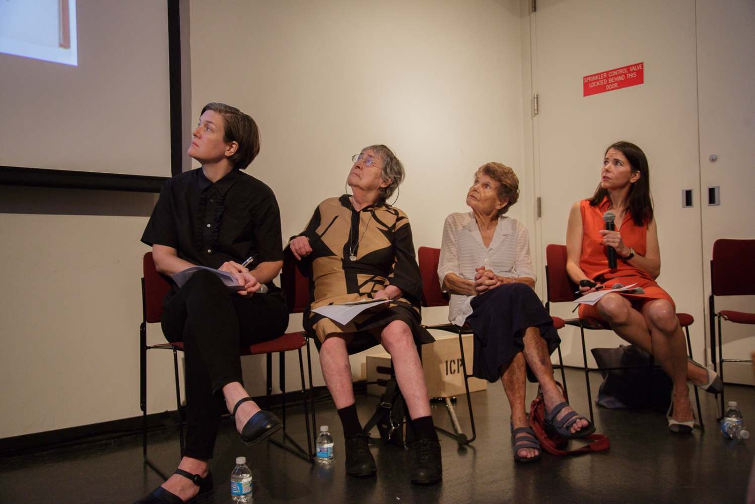 "June 21, 2017 - International Center of Photography School. New York City, NY, USA - (From left to right): Kristen Lubben, executive director of the Magnum Foundation, Inge Bondi, who joined Magnum in 1950 for about 20 years, Jinx Rodger, wife of George Rodger photographer and founding member of Magnum, Cynthia Young, curator at the ICP Museum, during the panel discussion ""Magnum Photos Now- Photobooks: History, Future, Form""."