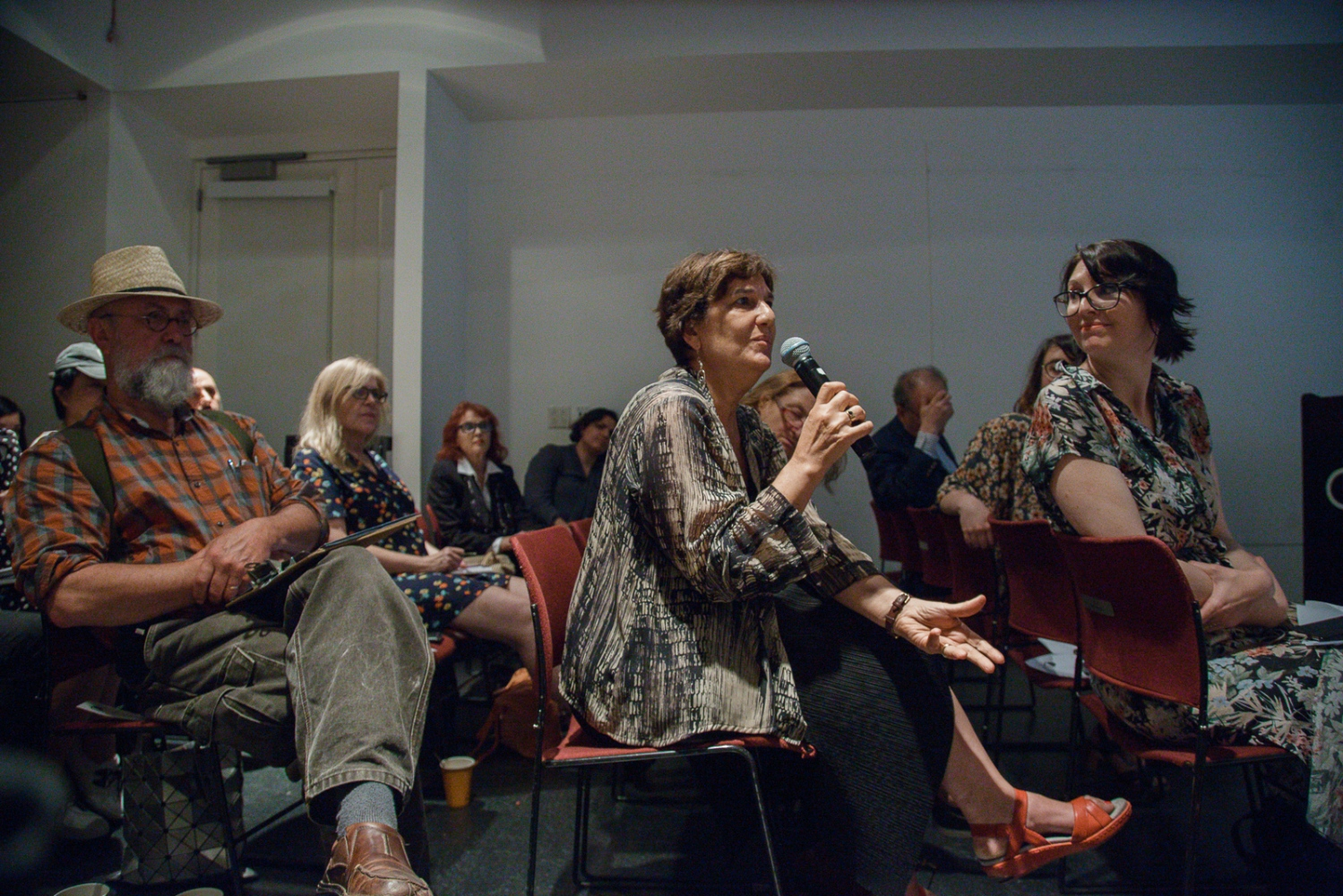 "June 21, 2017 - International Center of Photography School. New York City, NY, USA - Foreground: (Left to right)  Larry Towell, Magnum Photographer, Carole Naggar, editor and curator, and Shannon Ghannam; Global Education Manager of Magnum Photos during the ""Magnum Photos Now- Photobooks: History, Future, Form"" event."