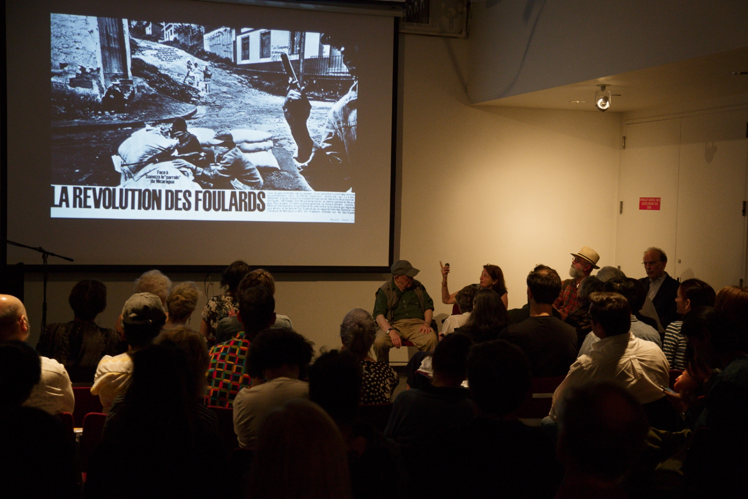 "June 21, 2017 - International Center of Photography School. New York City, NY, USA - Susan Meiselas discussing her book ""Nicaragua"" during the panel discussion ""Magnum Photos Now- Photobooks: History, Future, Form"". To her left is Bruce Davidson, and to her right Larry Towell and (far right) Fred Ritchin."