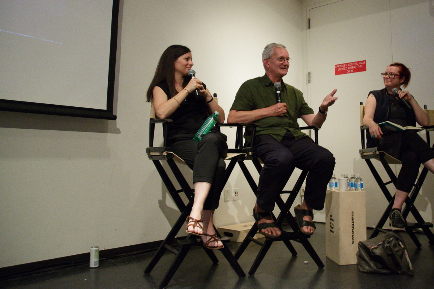 "June 21, 2017 - International Center of Photography School. New York City, NY, USA - (left to right): Olivia Arthur, Martin Parr and Lesley Martin during the panel discussion ""Magnum Photos Now- Photobooks: History, Future, Form""."