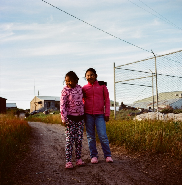 Girls in Shishmaref, Alaska. Shishmaref is one of severa l villages facing relocation due to climate change. The village voted in the summer of 2016 to relcoate, and are currently working on the village's plans.