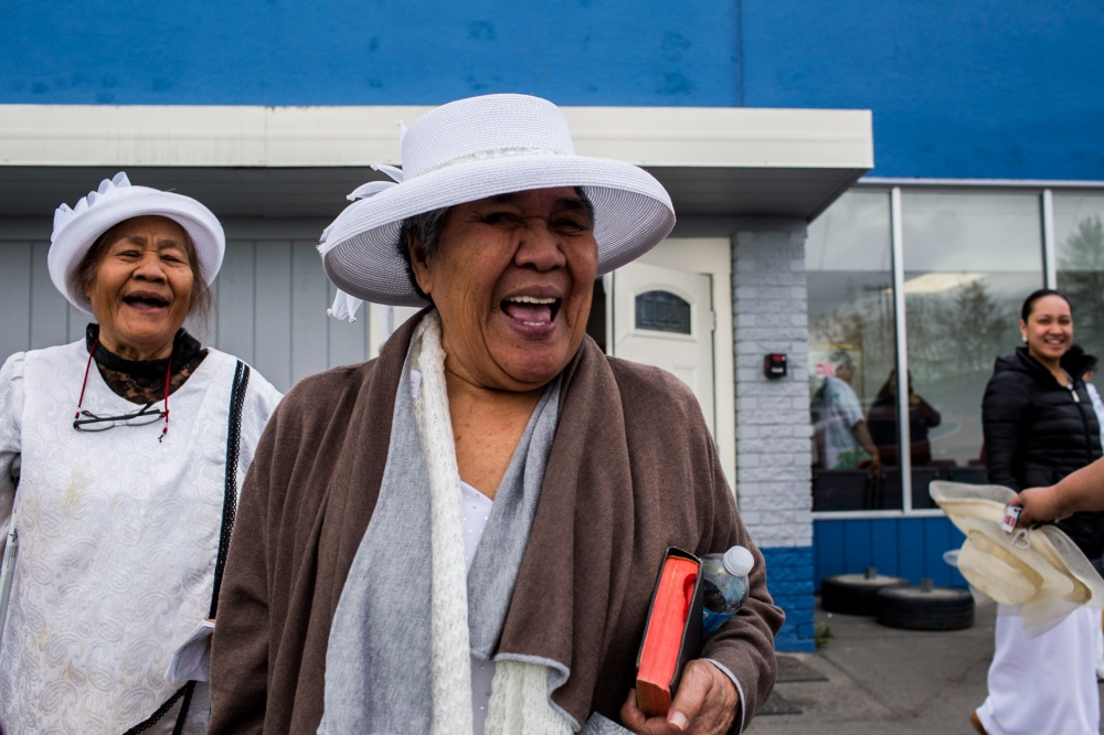 The Sunday service at the Congregational Christian Church of American Samoa in Alaska on Mountain View Drive lets out. Some social scientist have determined that the neighborhood of Mountain View is the most diverse neighborhood in the U.S.