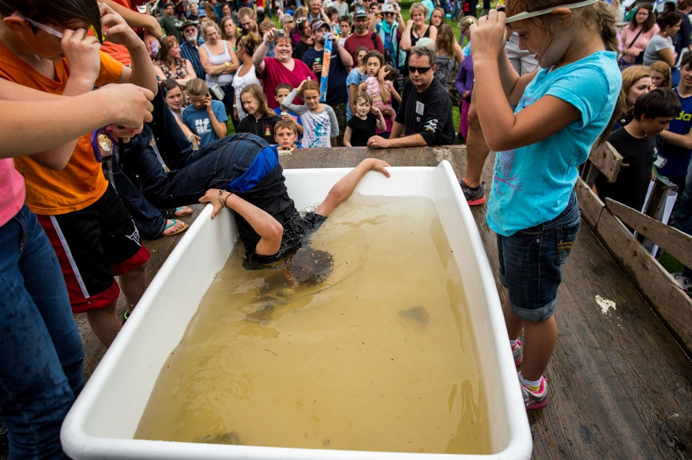Kids dunk for fish heads at the Sitka Seafood Festival in Sitka, Alaska.