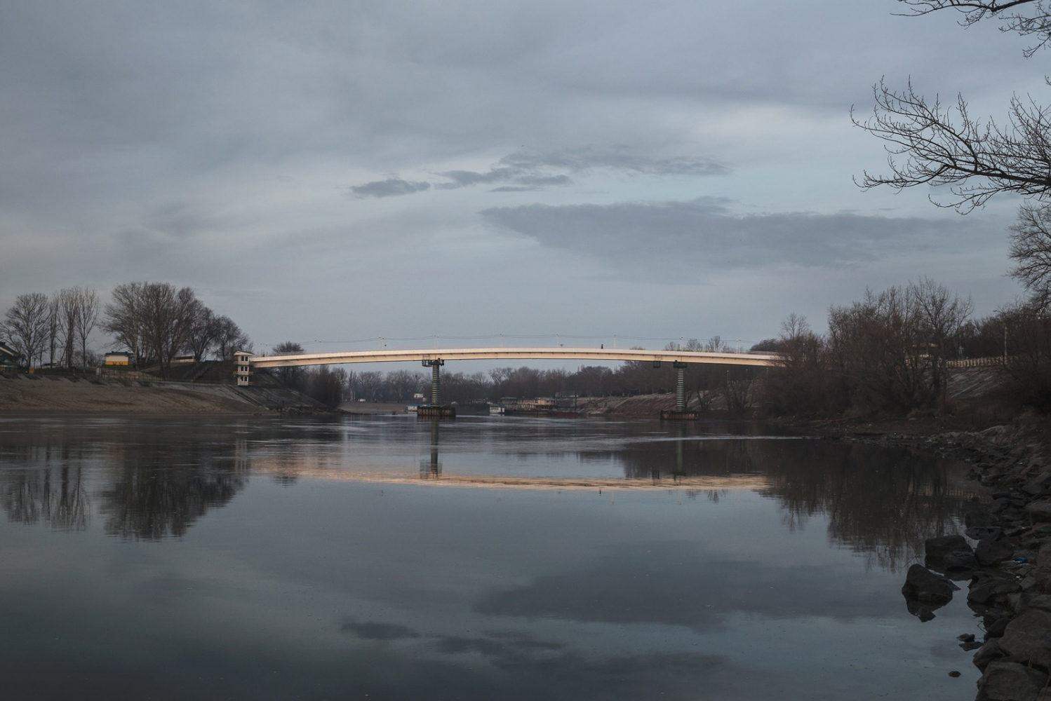 The only bridge over the Dniester river, the landmark border to Moldova, in Tiraspol, the capital of the breakaway republic of Transdniestr.