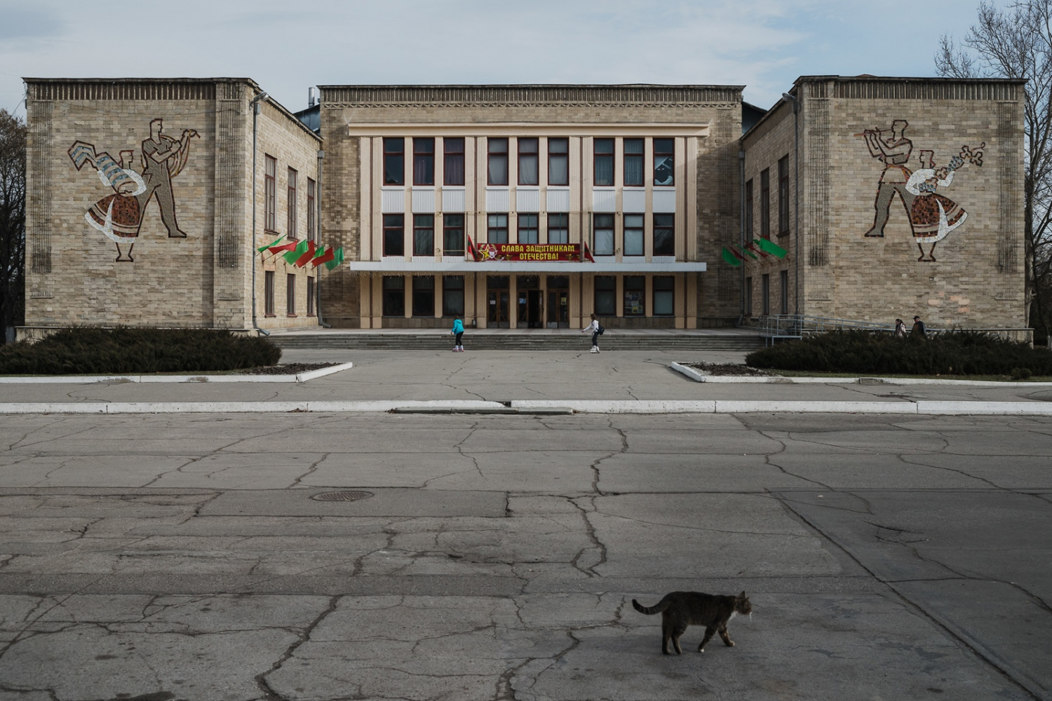 Even though its a public holiday, Defender of Fatherland Day, there is not many people out in the streets of Benderi, a border town to Moldova.