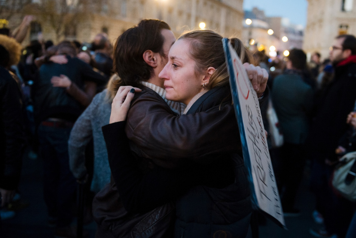 Free hugs are handed out at Place de La RÈpublique two nights after several coordinated terroristattacks killed over a hundred people in Paris, France.