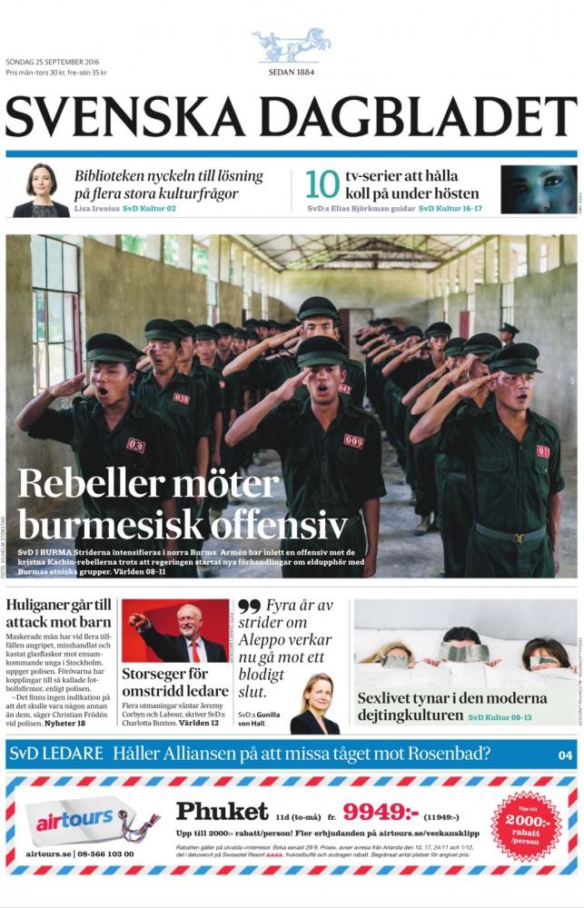 Escalating violence in Myanmar in Svenska Dagbladet.