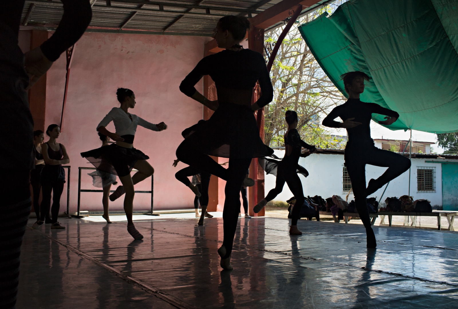 At the rehersal. Laura Alonso Academy is an offset of the National Ballet. To date, most of its graduates have defected to various countries outside of Cuba. The Academy functions mostly on donations as the funds for the arts are mostly spent on the National Ballet.