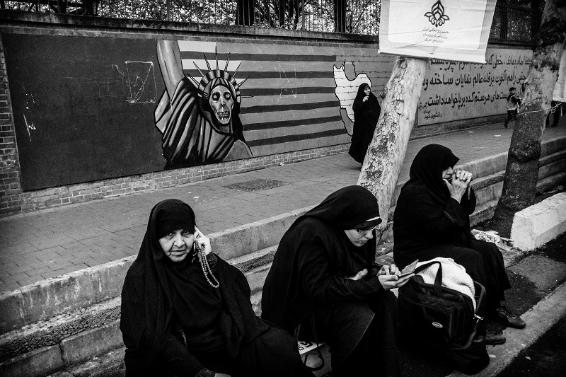 """Photography image - Im working on a lone term project """" Iran, 40 years after Revolution """" and  I will show this project in next year. _ In front of Embassy of USA _Tehran 2015"""