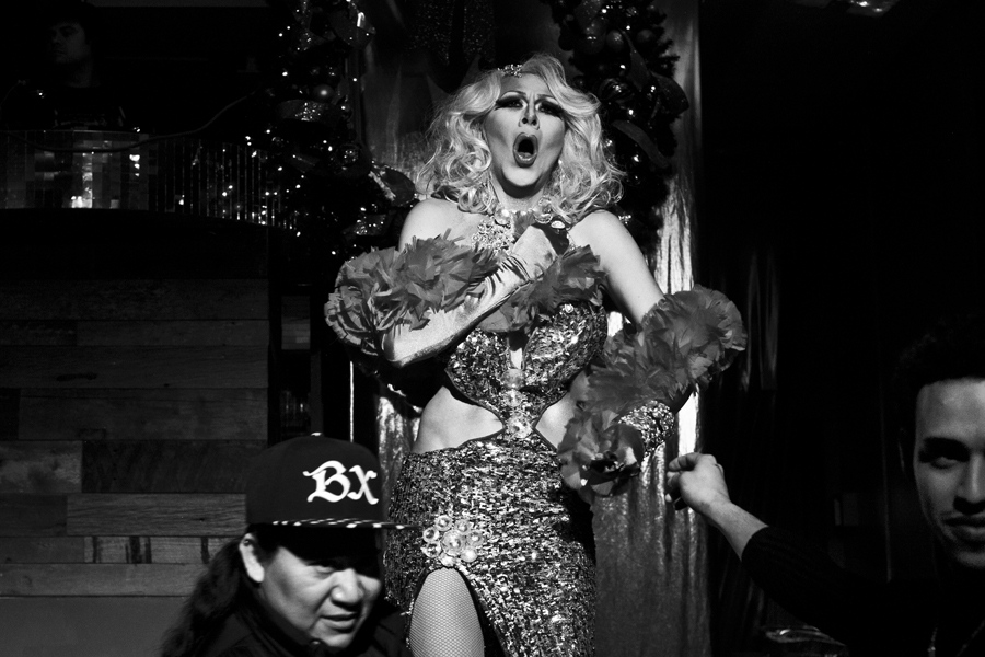 Drag woman is perfotming in a gay club in Jackson Heights,Queens.