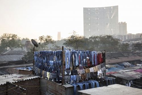 Clothes are hung to dry in Dhobi Ghats which everyday washes, rinses, dry's and irons thousands of pieces of clothes for people living in Mumbai, India.