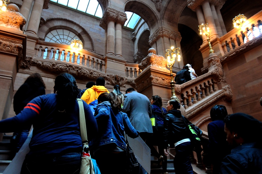 Albany capital of state of New York, A group young Hispanic activists of Make The road who promote the Dream Act Found was visiting to the assembly in Albany of NY which was approved the 'DREAM Act Found' with a private- public initiative to help undocumented students in NY state.