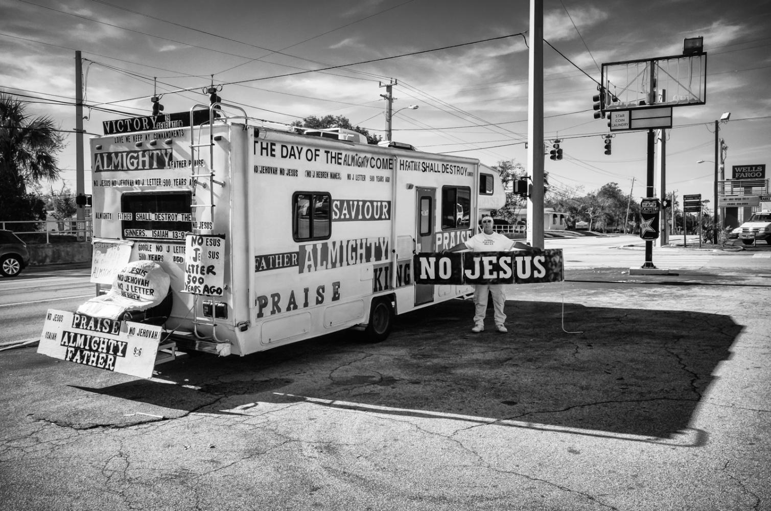 "No Jesus Traveling minister preaching ""No Jesus"""