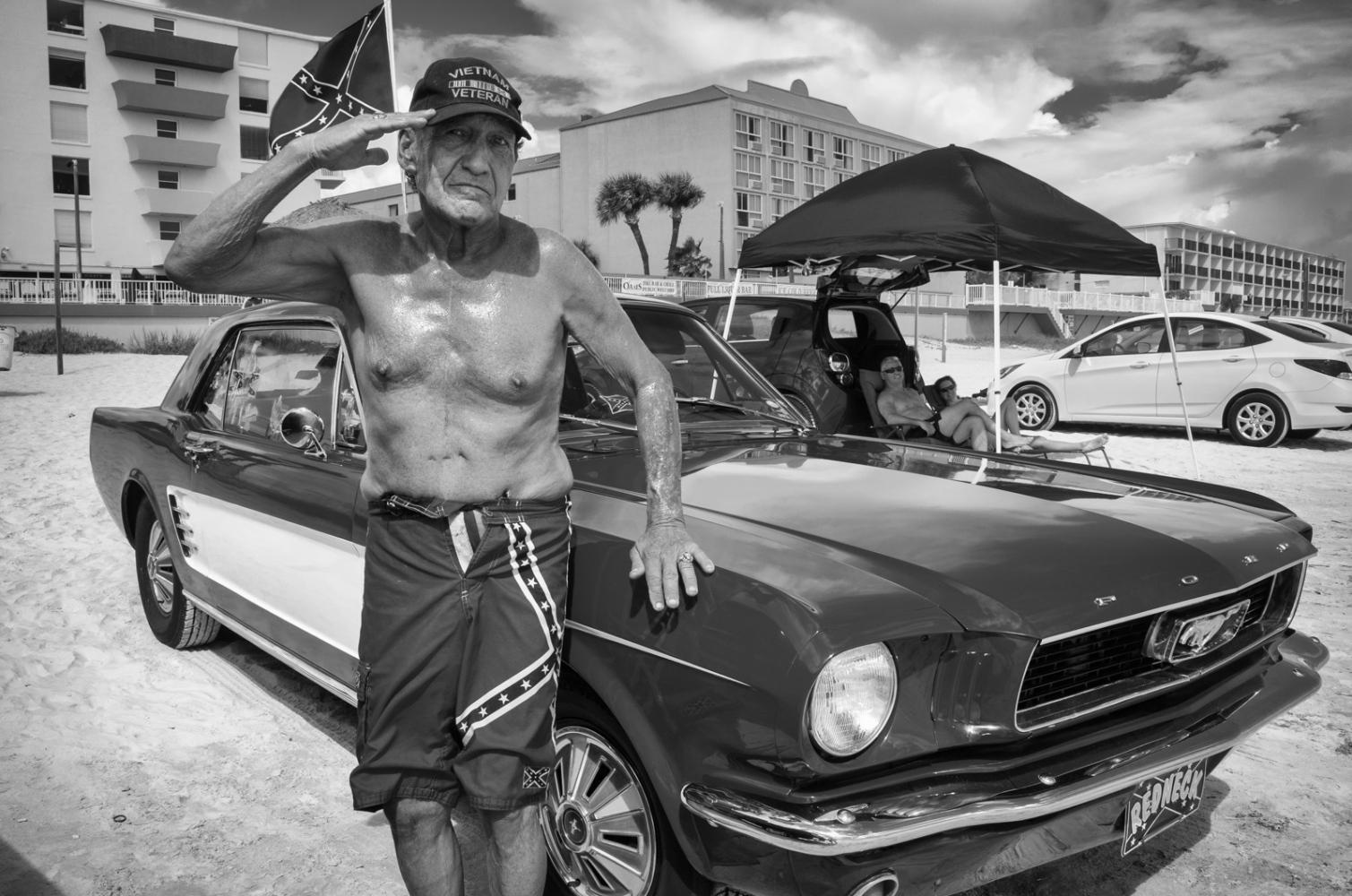 "Sand Man Vienam Veteran ""Sand Man"" with his vintage Mustang."