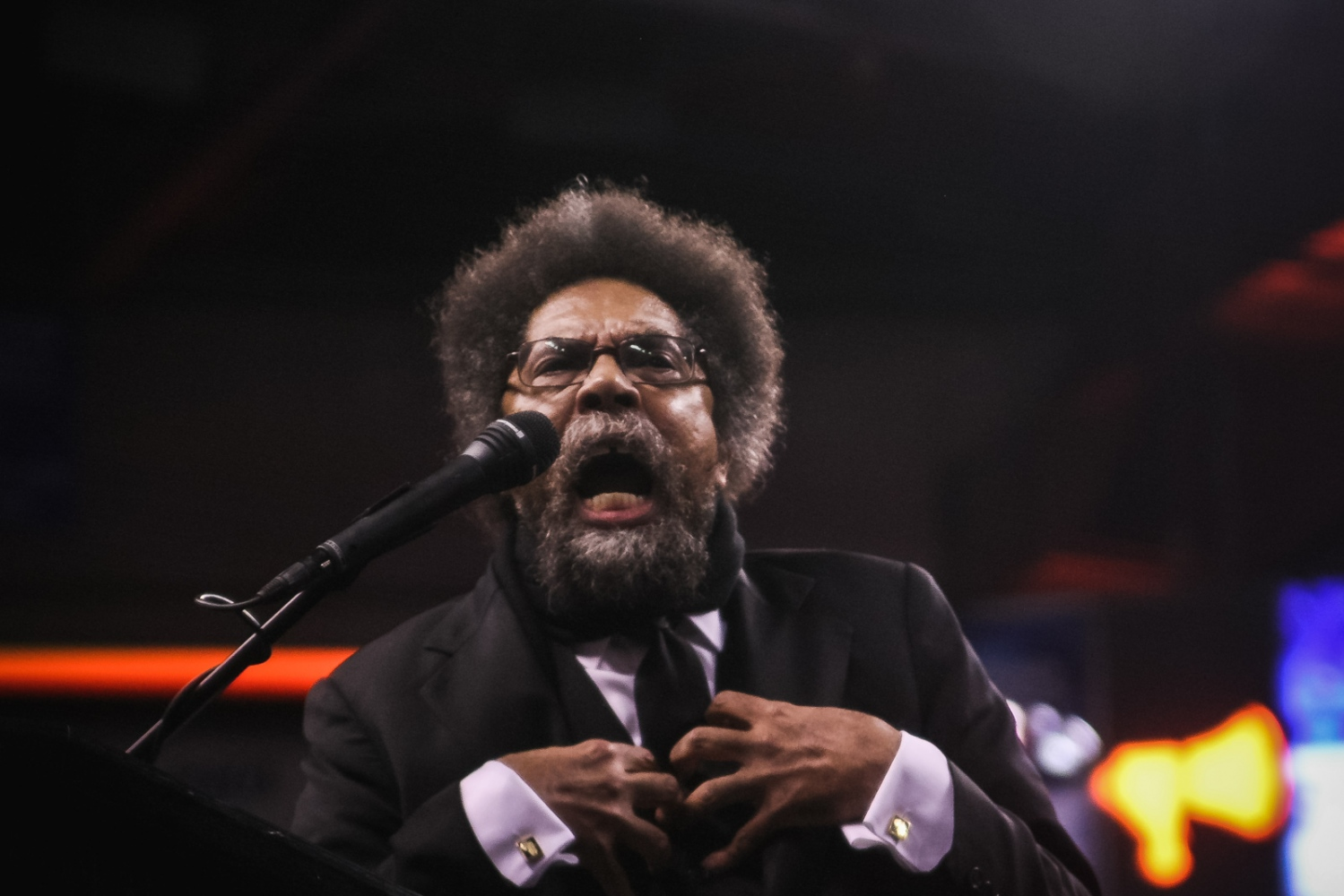 Liberatin theologist and socialist Cornel West speaks to hundreds of supporters in St. Louis.