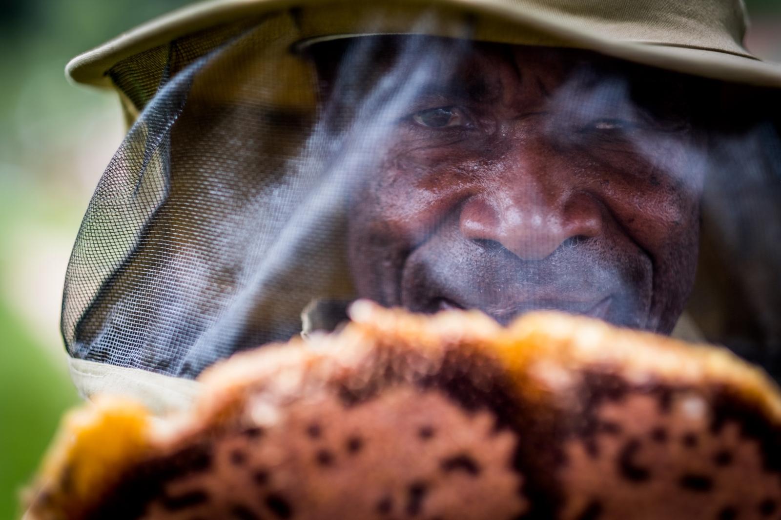 Bee Keeper. Rubuguri, Uganda