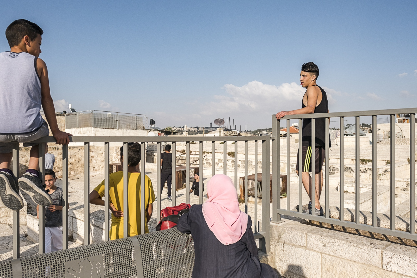Taking a break from doing Parkour on the rooftops of the Old City of Jerusalem