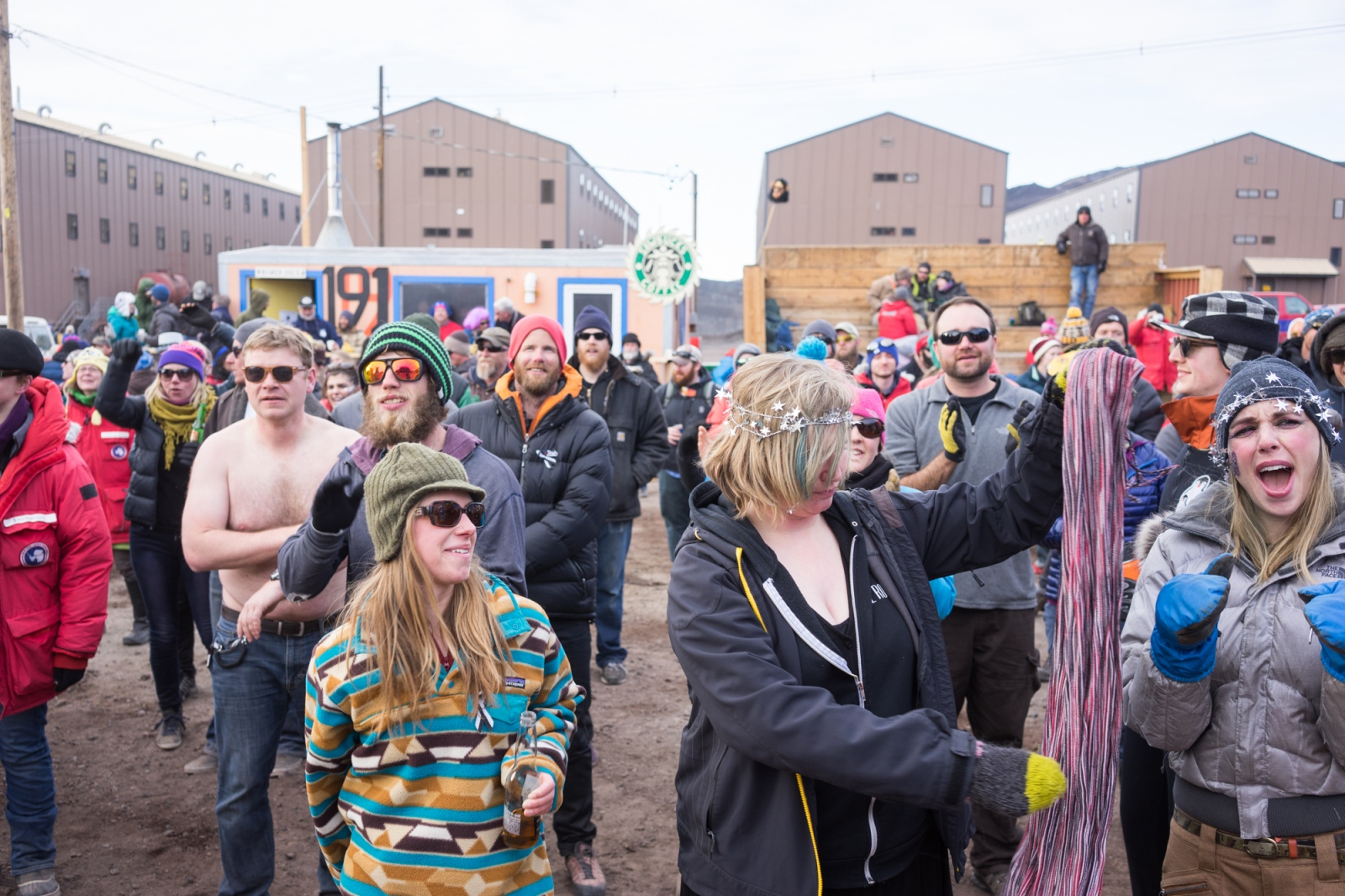 """Partygoers at the annual """"Icestock"""" New Years music festival in McMurdo Station."""