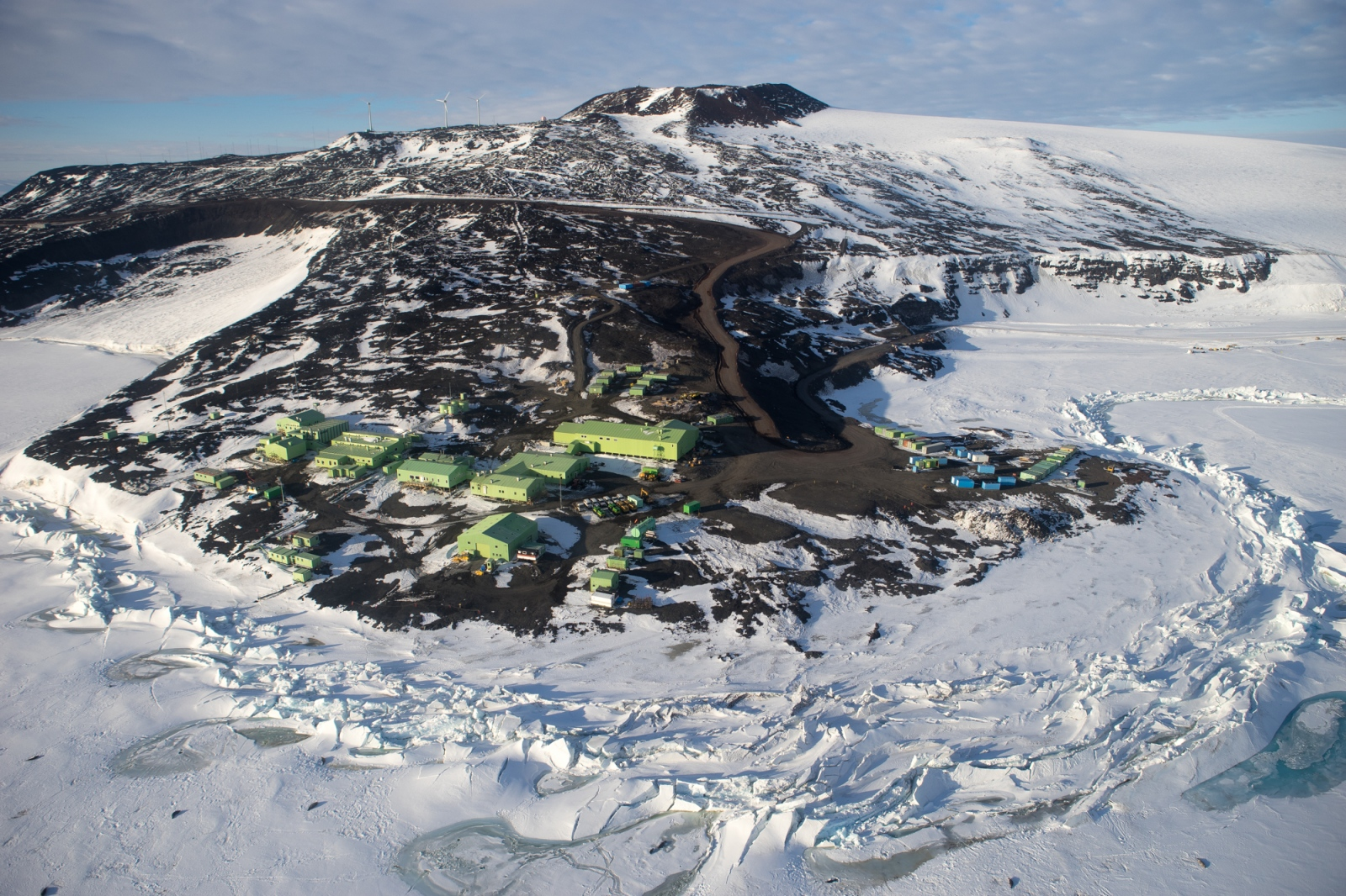 Scott Base, Antarctica. This is New Zealand's primary research station on the continent and is only a few kilometers away from McMurdo station, the United State's (and Antarctica's) largest scientific research station.