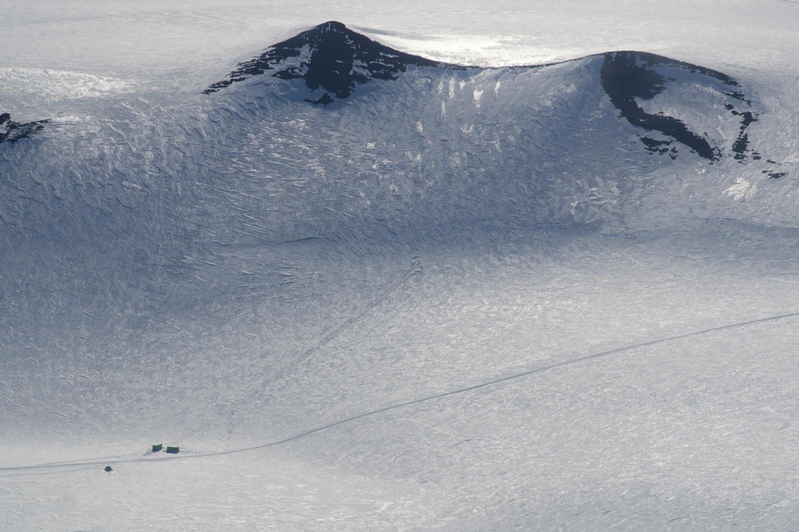 Hut Point Penninsula and ski tracks.