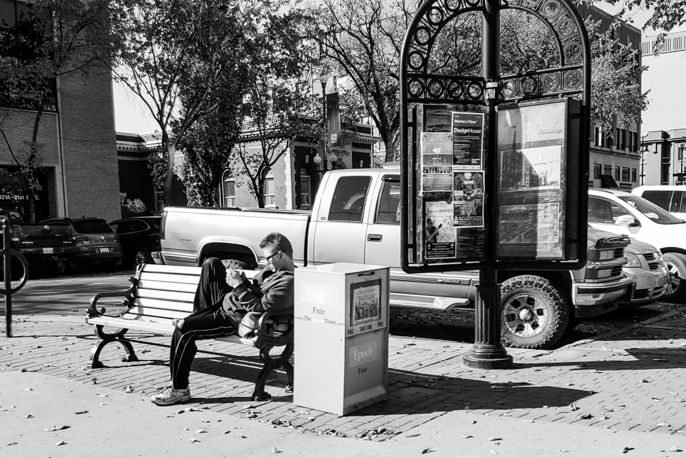 Photography image - Taking a break, 21st St. and 4th Ave. Saskatoon, SK Canada