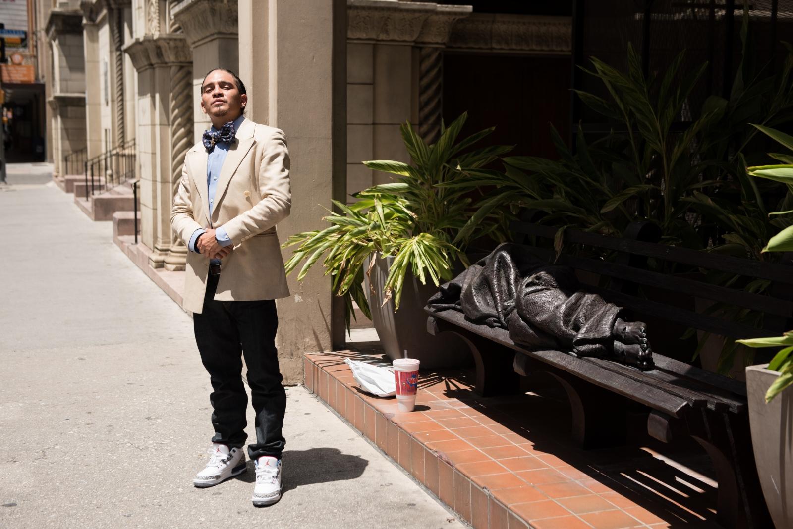 The barber and Homeless Jesus. San Antonio, Texas, June 2017.