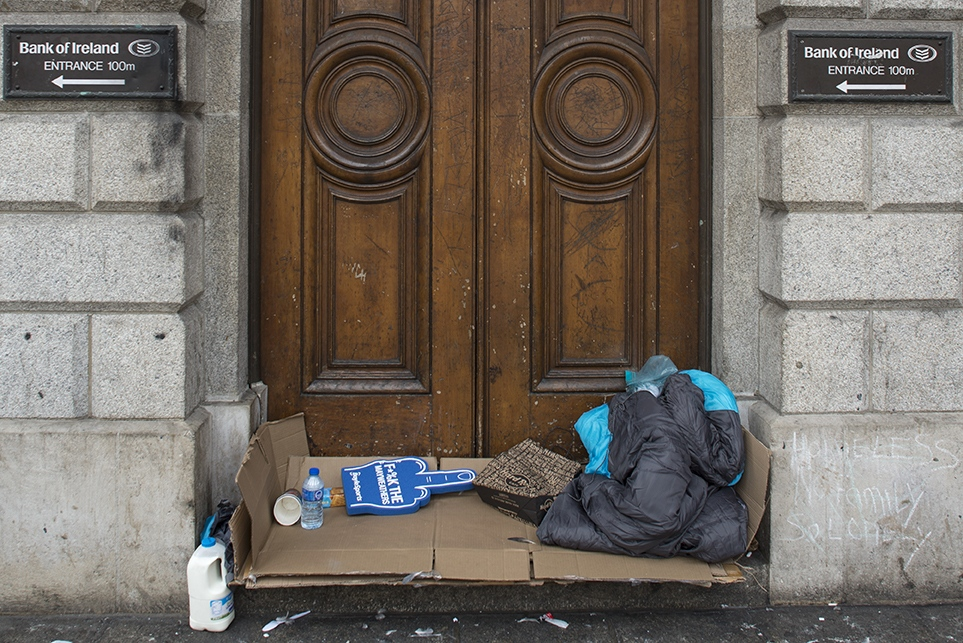 Traces of a homeless person at the doors of Bank of Ireland, Dublin