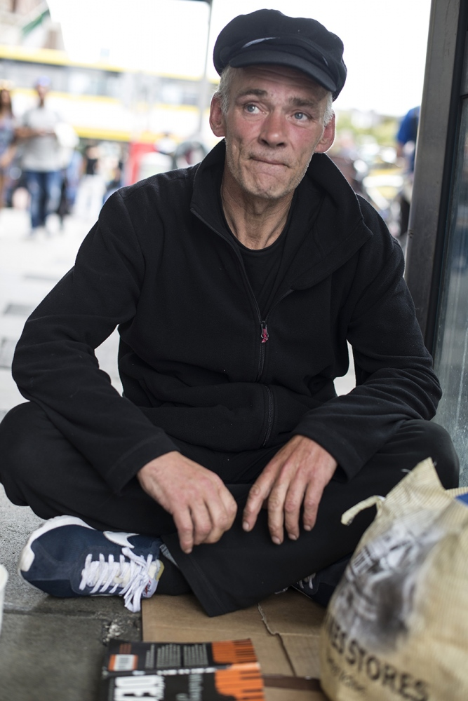 Philip, aka Felix. 52 years old, homeless since one year. He lost his company and soon after his family and his home. Since he's been living on the street, he has been once attacked with acid while sleeing by a group of people so they could steal his phone, and in another occasions he got stabbed, once with a knife, and once with a screwdriver.