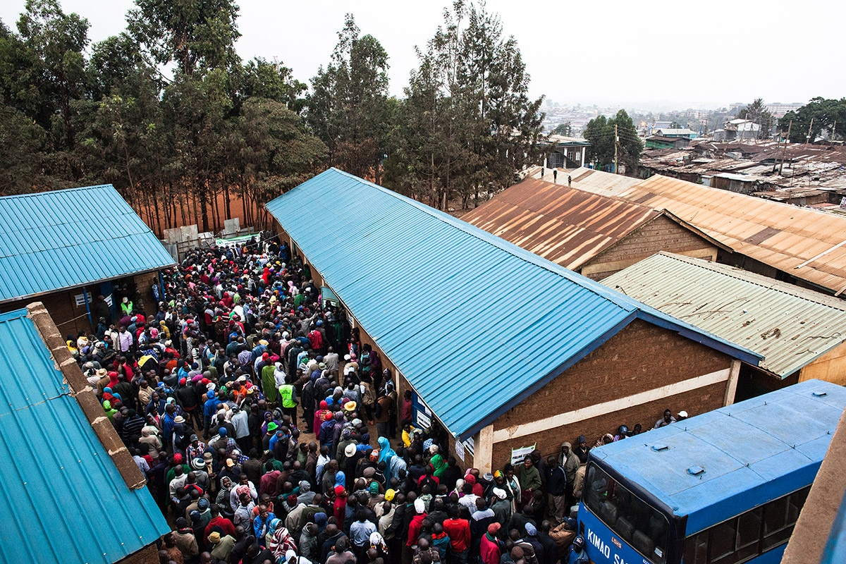 Polling station in Kibera, Africa's largest slum located in Nairobi, capital of Kenya. Kenyans vote in general elections headlined by a too-close-to-call battle between incumbent Uhuru Kenyatta and his rival Raila Odinga.