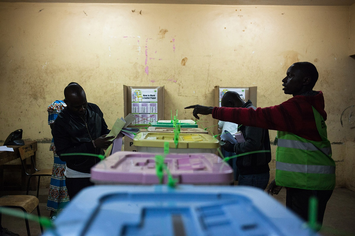 Interior of a polling station in Kibera, Africa's largest slum located in Nairobi, capital of Kenya. Kenyans vote in general elections headlined by a too-close-to-call battle between incumbent Uhuru Kenyatta and his rival Raila Odinga.