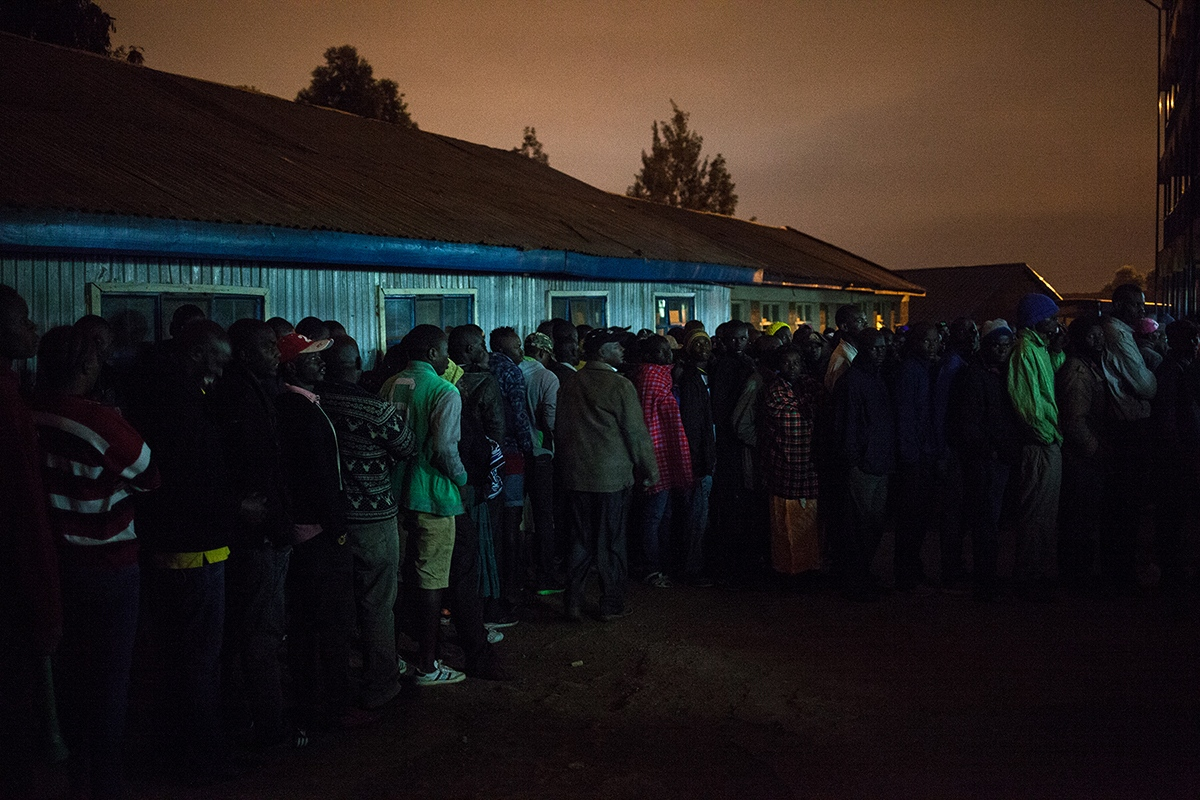 In Kibera, Africa's largest slum located in Nairobi, capital of Kenya, many voters have spent the night queuing up, awaiting the opening of the polls, which began at 6am on August 8, 2017. Kenyans vote in general elections headlined by a too-close-to-call battle between incumbent Uhuru Kenyatta and his rival Raila Odinga.