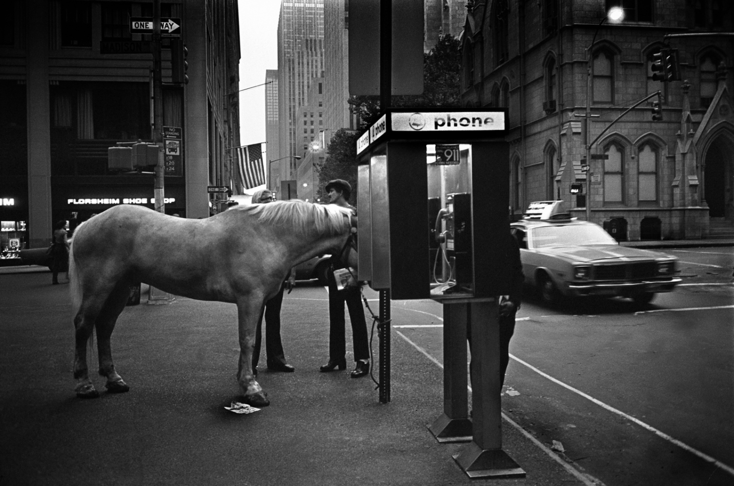 Horse at the pay phone. Madison Ave, 1985