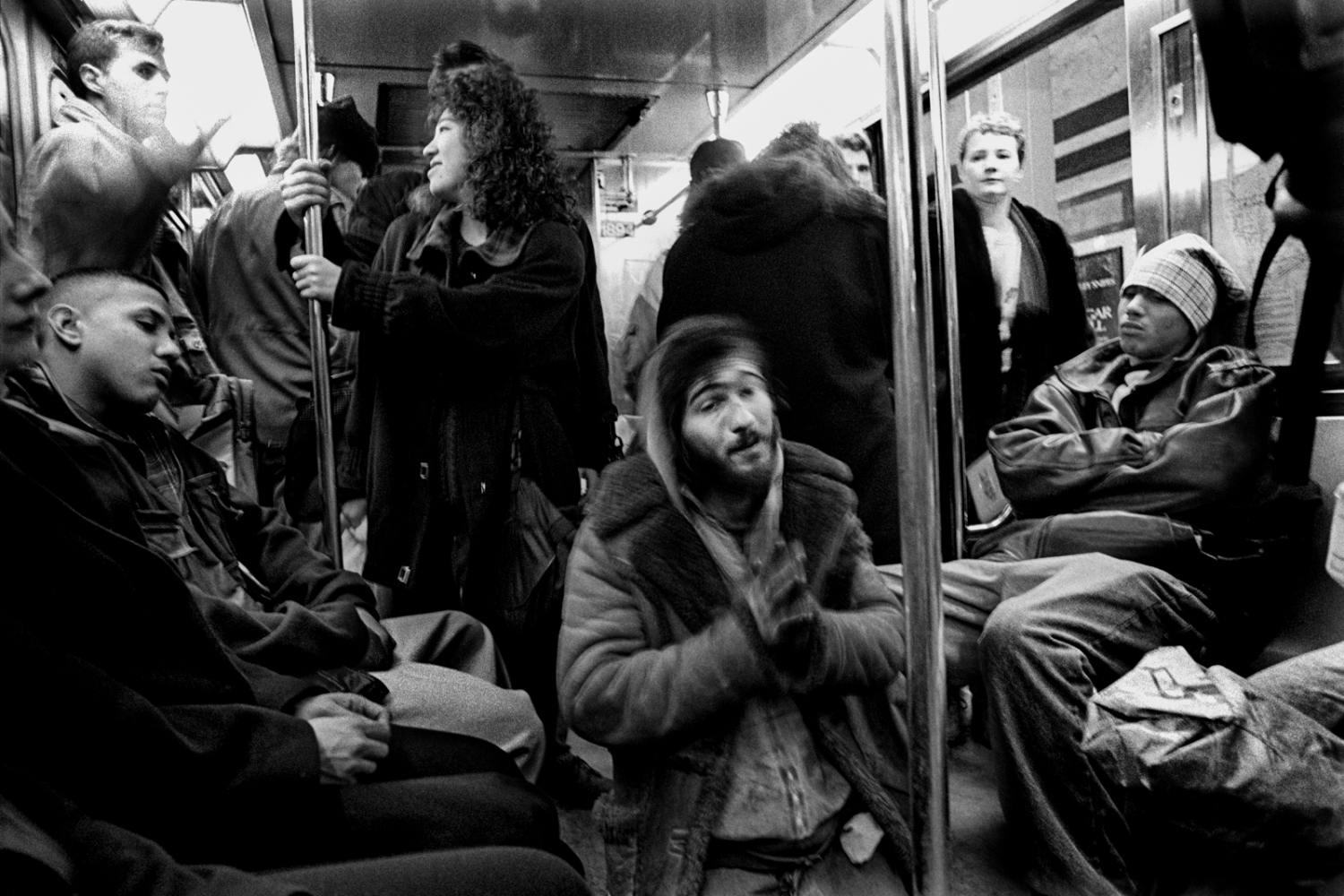 Man begs for help on the 8th Avenue subway, 1994