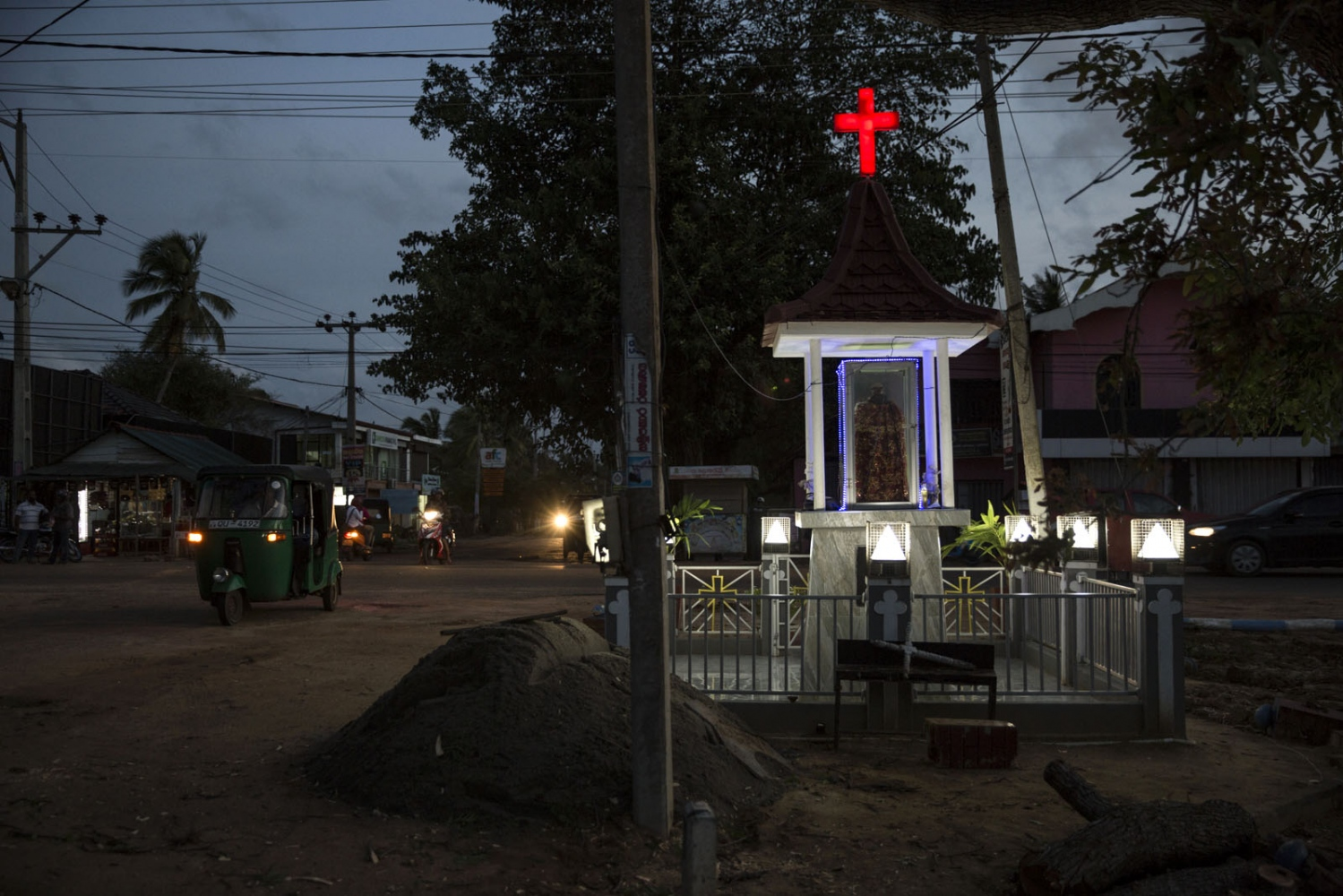 A Catholic shrine stands in the Muslim dominated town of Puttalam. The shrine is close by to St Mary's Church where centuries ago most of the Afro-Sri Lankans lived and who helped build the church. Since then they have dispersed to various other areas in the town and outside. Puttalam, Sri Lanka - September 2017