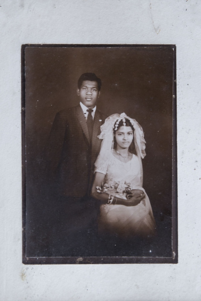 An old wedding photograph showing Benedict Vancis Callistis, now 62, on his wedding day to a local Sinhalese lady. Puttalam, Sri Lanka - September 2017