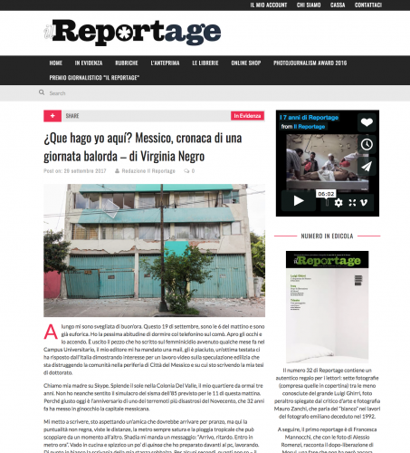 Il Reportage .29 Sept. 2017. Italy.