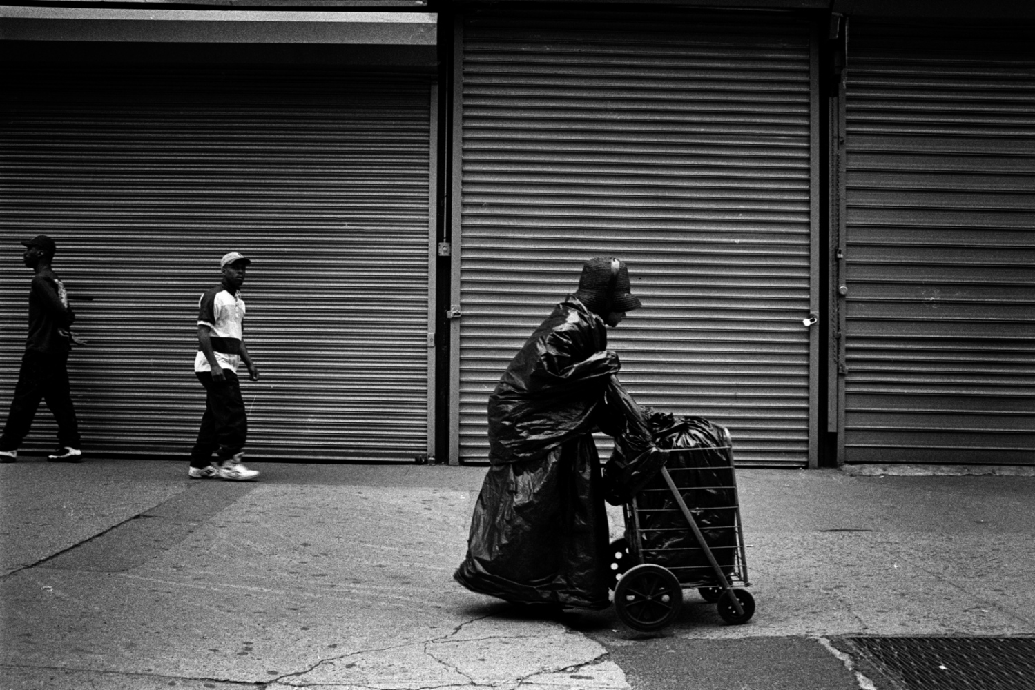 Anonymous and completely wrapped in plastic bag lady, 42nd Street, 1996.