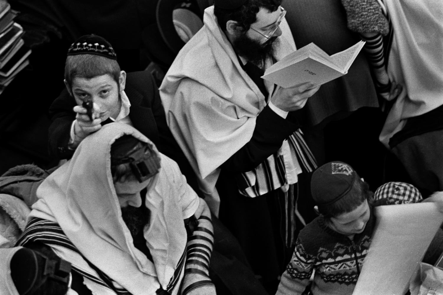 Purim. Crown Heights synagogue, Brooklyn, 1979